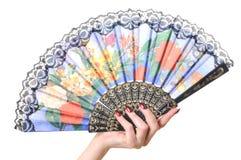 женщина руки вентилятора Стоковая Фотография RF
