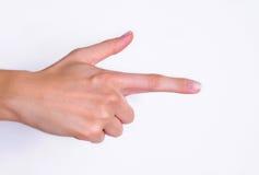 женщина руки указывая Стоковое Изображение RF