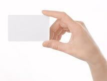 женщина руки s визитной карточки пустая Стоковая Фотография