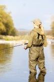 Женщина рыбной ловли Стоковые Фотографии RF