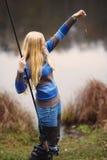 женщина рыболовства Стоковое фото RF