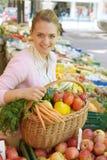 женщина рынка плодоовощ Стоковое Фото