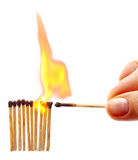 женщина рядка matche руки пожара Стоковая Фотография RF