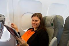 женщина самолета Стоковые Изображения