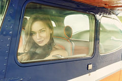женщина самолета Стоковые Фотографии RF