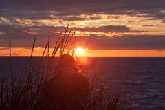 Женщина самостоятельно наблюдая заход солнца стоковое фото