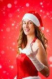 Женщина Санта Клауса хотеть вас Стоковое Изображение