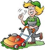 Женщина садовника с травокосилкой Стоковая Фотография RF