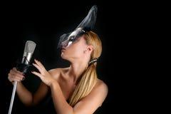 женщина сбора винограда красивейшего микрофона пея Стоковые Фотографии RF