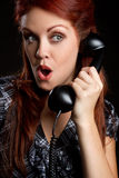 женщина сбора винограда телефона Стоковая Фотография RF