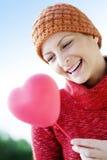 женщина сердца воздушного шара Стоковые Фотографии RF