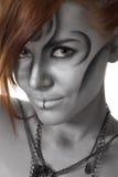 женщина серебра портрета искусства изолированная телом Стоковые Изображения
