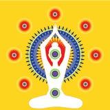 Женщина сидя в представлении йоги Мандала Chakras иллюстрация штока