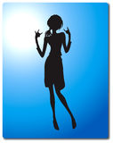 женщина силуэта коромысла Стоковое Изображение