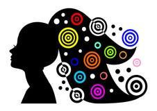 женщина силуэта портрета волос abstr длинняя иллюстрация штока