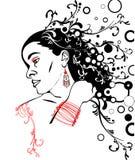 женщина силуэта стороны Стоковые Фотографии RF