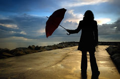 женщина силуэта Стоковая Фотография