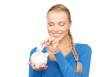 женщина симпатичных дег банка piggy Стоковые Изображения RF