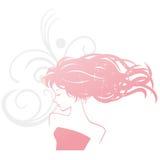 Женщина силуэта парикмахерских услуг Стоковое Изображение
