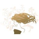 Женщина силуэта салона косметики Стоковые Изображения RF