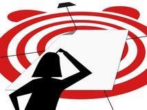 Женщина силуэта думая пустой белый лист ударила цель в пределах крайнего срока Стоковые Изображения RF