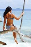 Женщина сидя на дереве около моря стоковая фотография