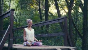 Женщина сидя на старом мосте в парке
