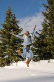 Женщина скача для утехи Стоковые Изображения