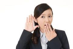 Женщина слушает тщательно стоковое фото