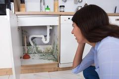 Женщина смотря прессформу в зоне шкафа стоковые фото