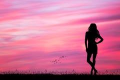 Женщина смотря розовый заход солнца иллюстрация штока
