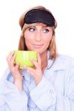 женщина сна маски Стоковые Фотографии RF