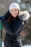 женщина снежка лопаткоулавливателя сь Стоковые Изображения