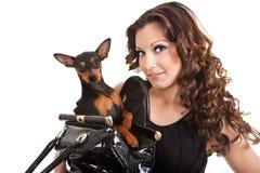 женщина собаки брюнет стоковые фотографии rf