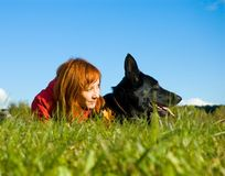 женщина собаки Стоковое Изображение RF