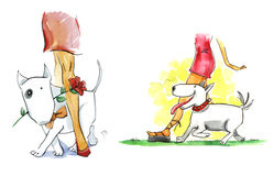 женщина собаки bullterrier Стоковые Фотографии RF