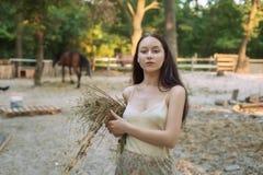 Женщина собирая сено для лошади стоковое изображение