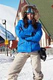 женщина солнечных очков smiley лыжи Стоковая Фотография