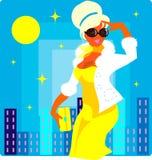 женщина солнца способа города предпосылки бесплатная иллюстрация
