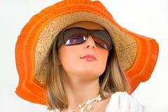 женщина солнца сторновки шлема стекел нося Стоковое Изображение
