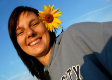 женщина солнцецвета волос Стоковое Изображение