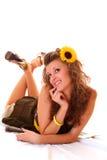 женщина солнцецвета Стоковое Изображение