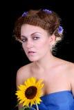 женщина солнцецвета Стоковые Изображения RF