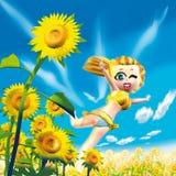 женщина солнцецветов Стоковые Фотографии RF