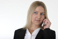женщина сотового телефона милая говоря Стоковое Фото
