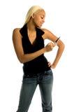 женщина сотового телефона урбанская Стоковое Изображение
