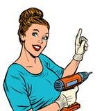 Женщина со сверлом руки иллюстрация штока
