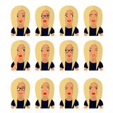 Женщина со светлыми волосами и эмоциями Значки потребителя Иллюстрация вектора воплощения иллюстрация штока