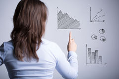 Женщина среди различных диаграмм Стоковая Фотография
