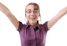 женщина стекел счастливая Стоковое фото RF
